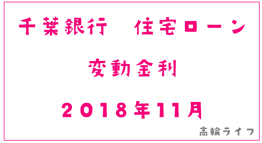 千葉銀行2018年11月の住宅ローン変動金利