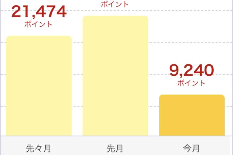 2019年1月に獲得した楽天スーパーポイントは9,240ポイントでした。