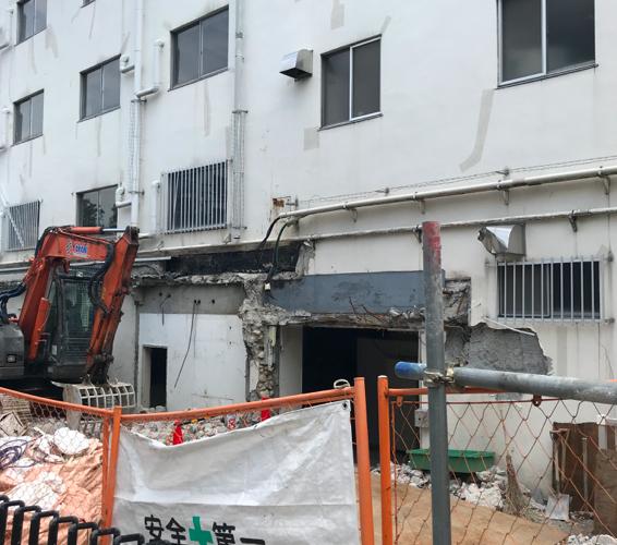高輪にあった慶應義塾大学の高輪寮が取り壊し中。